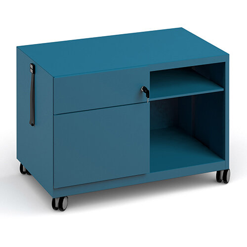Bisley steel caddy left hand storage unit 800mm - blue
