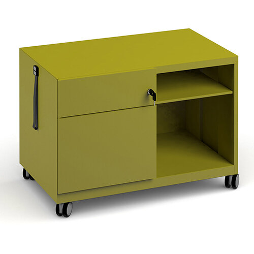 Bisley steel caddy left hand storage unit 800mm - green