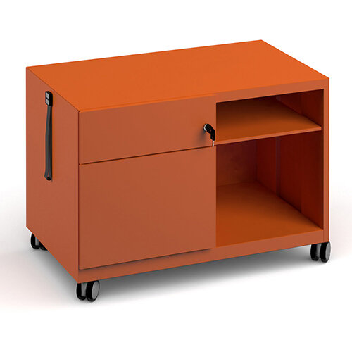 Bisley steel caddy left hand storage unit 800mm - orange