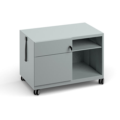 Bisley steel caddy left hand storage unit 800mm - silver