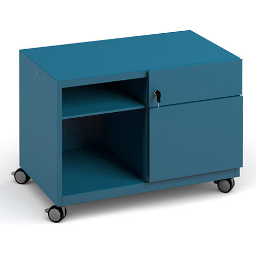 Bisley steel caddy right hand storage unit 800mm - blue