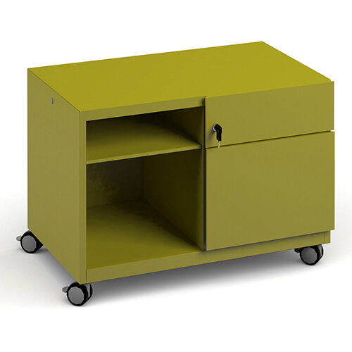 Bisley steel caddy right hand storage unit 800mm - green