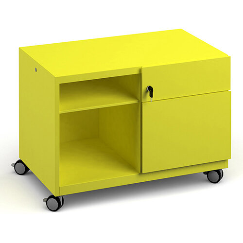 Bisley steel caddy right hand storage unit 800mm - yellow