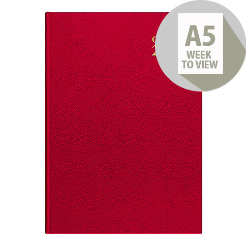Collins A5 Desk Diary Week to View 2020 Red 35