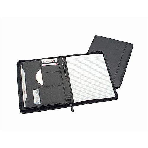 5 Star Office Zipped A4 Conference Folder Capacity 20mm Black Leather Look - interior pocket, external zipped pocket, two business card holder and pen loop