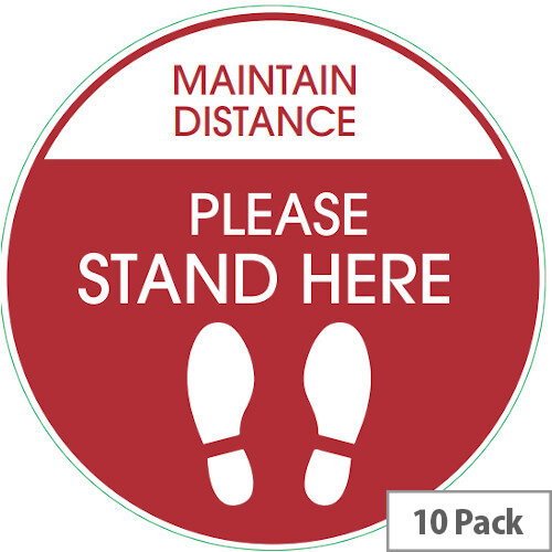 Maintain Distance Please Stand Here Circle Floor Sign 420mm Pack 10