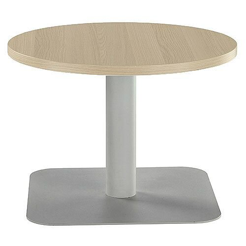 ONE Round 600mm Reception Coffee Table Grey Oak With Silver Square Base
