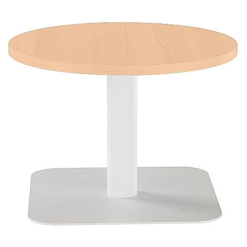 ONE Round 600mm Reception Coffee Table Beech With White Square Base