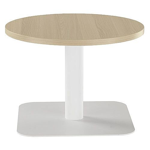 ONE Round 600mm Reception Coffee Table Grey Oak With White Square Base