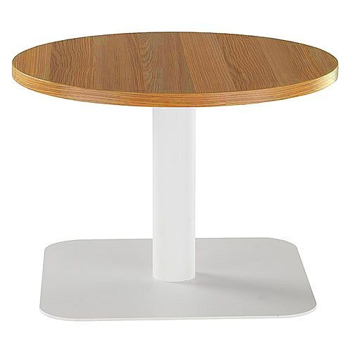 ONE Round 600mm Reception Coffee Table Light Walnut With White Square Base