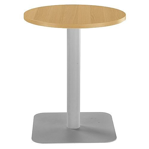 ONE Circular Cafe &Bistro Table Grey Oak With Silver Square Base W600xD600xH725mm