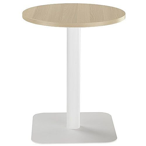 ONE Circular 600mm Cafe &Bistro Table Grey Oak With White Base