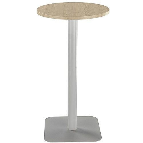 ONE Circular 600mm High Cafe &Bistro Table Grey Oak With Silver Base