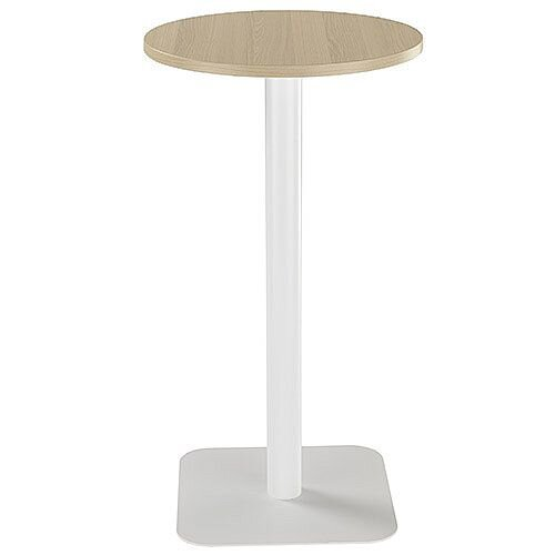 ONE Circular 600mm High Cafe &Bistro Table Grey Oak With White Base