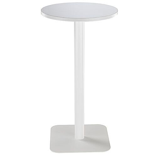 ONE Circular 600mm High Cafe &Bistro Table White With White Square Base