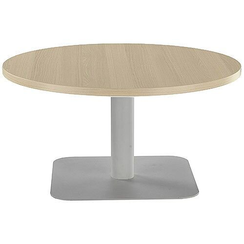 ONE Round 800mm Reception Coffee Table Grey Oak With Silver Square Base