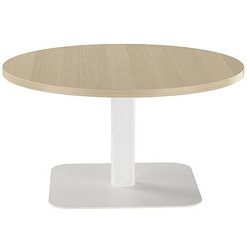 ONE Round 800mm Reception Coffee Table Grey Oak With White Square Base
