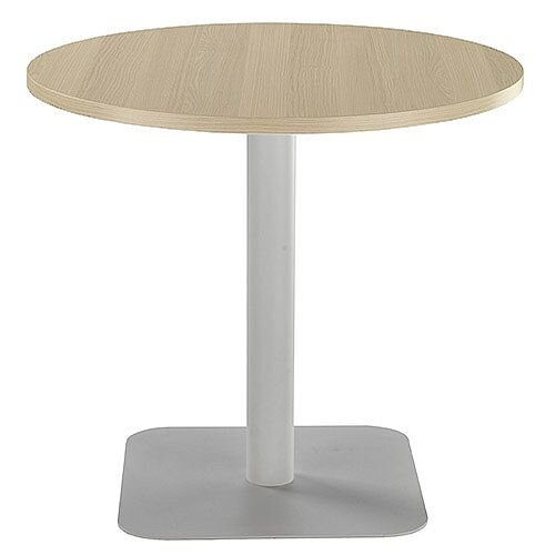 ONE Circular 800mm Cafe &Bistro Table Grey Oak With Silver Base