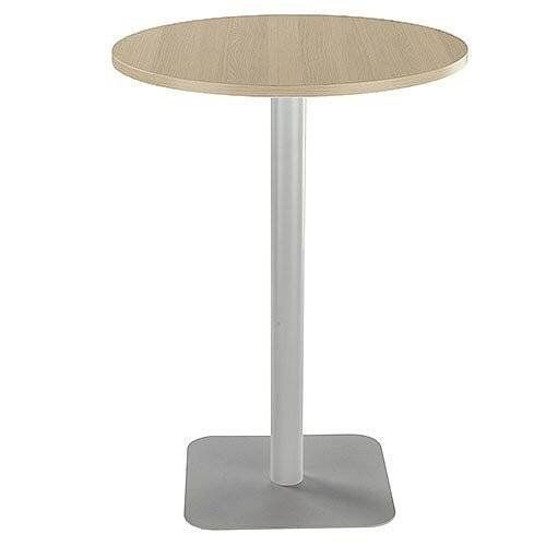ONE Circular 800mm High Cafe &Bistro Table Grey Oak With Silver Base