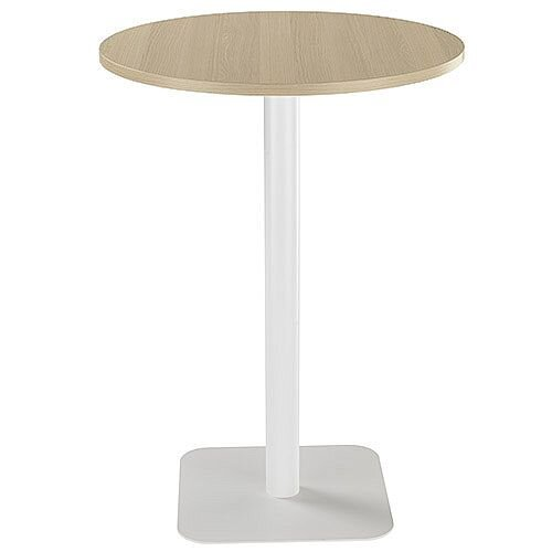 ONE Circular 800mm High Cafe &Bistro Table Grey Oak With White Base