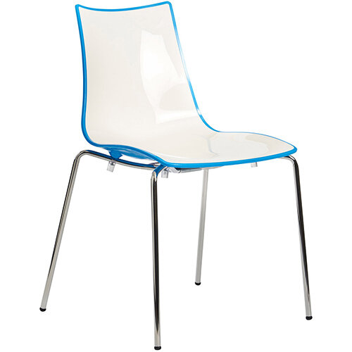 Gecko Blue Shell Canteen & Breakout Stacking Chair with Chrome Legs