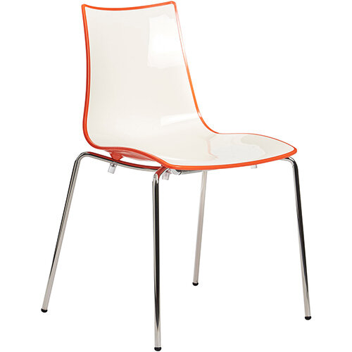 Gecko Orange Shell Canteen &Breakout Stacking Chair with Chrome Legs