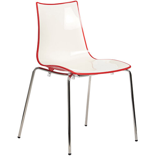 Gecko Red Shell Canteen &Breakout Stacking Chair with Chrome Legs