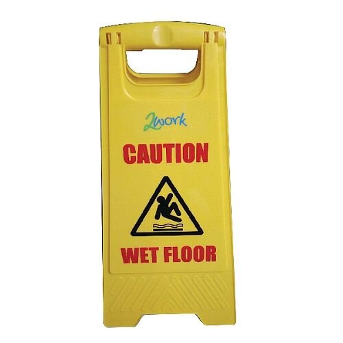 Folding Safety Sign Caution Wet Floor and Cleaning In Progress Yellow PS123-WET