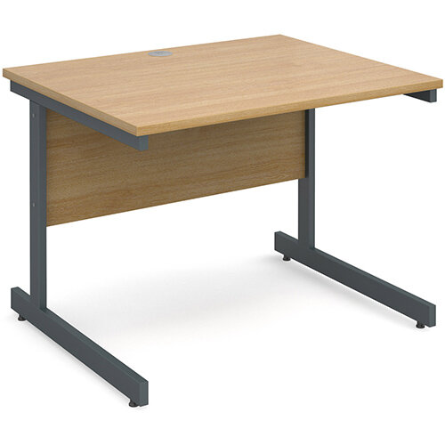 Contract 25 straight desk 1000mm x 800mm - graphite cantilever frame, oak top