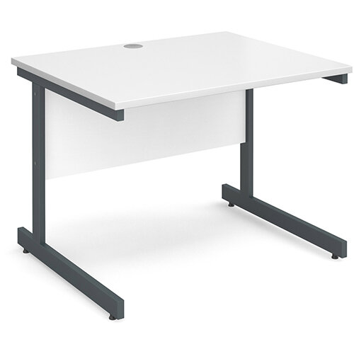 Contract 25 straight desk 1000mm x 800mm - graphite cantilever frame, white top