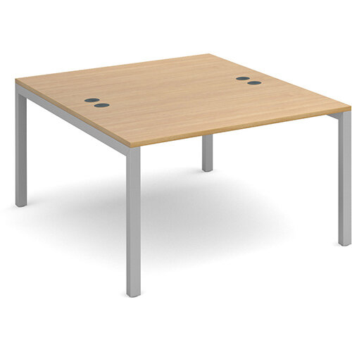 Connex back to back desks 1200mm x 1600mm - silver frame, oak top