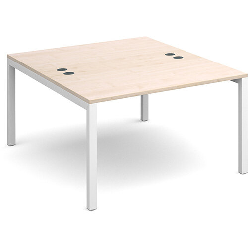 Connex back to back desks 1200mm x 1600mm - white frame, maple top