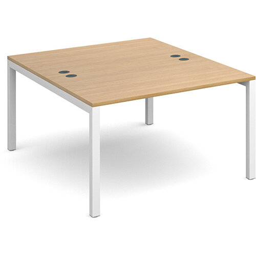 Connex back to back desks 1200mm x 1600mm - white frame, oak top