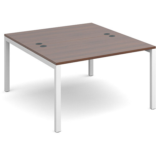 Connex back to back desks 1200mm x 1600mm - white frame, walnut top