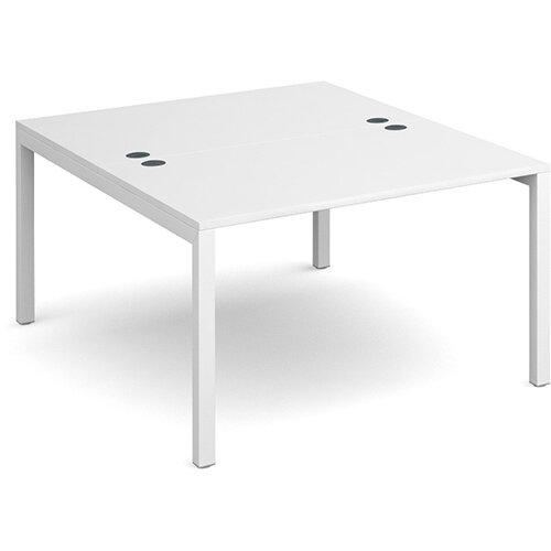 Connex back to back desks 1200mm x 1600mm - white frame, white top