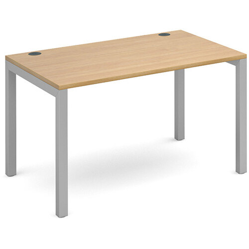 Connex single desk 1200mm x 800mm - silver frame, oak top