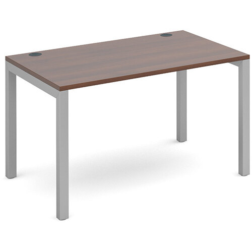 Connex single desk 1200mm x 800mm - silver frame, walnut top