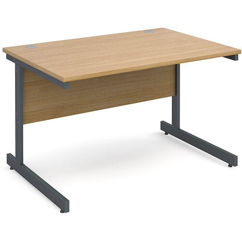 Contract 25 straight desk 1200mm x 800mm - graphite cantilever frame, oak top