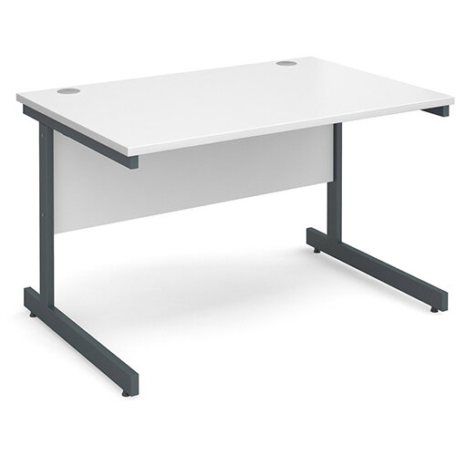 Contract 25 straight desk 1200mm x 800mm - graphite cantilever frame, white top