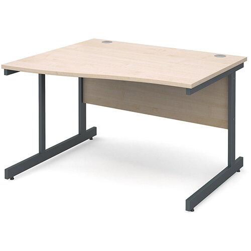 Contract 25 left hand wave desk 1200mm - graphite cantilever frame, maple top