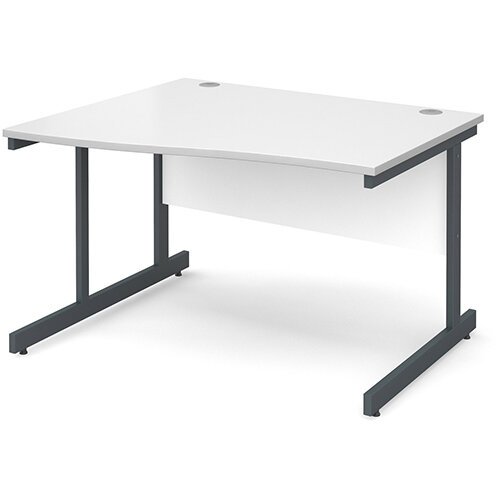 Contract 25 left hand wave desk 1200mm - graphite cantilever frame, white top