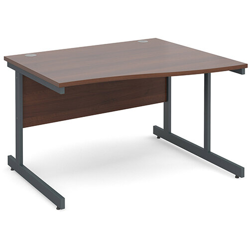 Contract 25 right hand wave desk 1200mm - graphite cantilever frame, walnut top