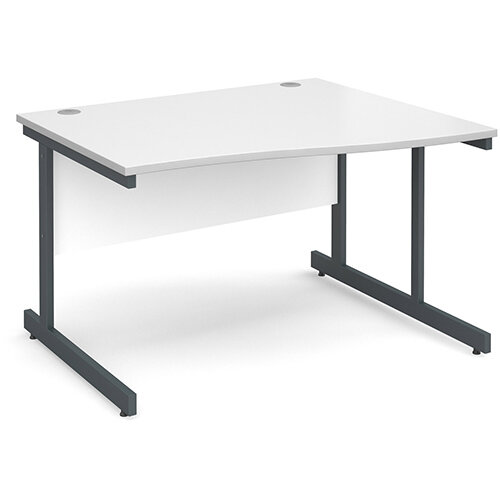 Contract 25 right hand wave desk 1200mm - graphite cantilever frame, white top