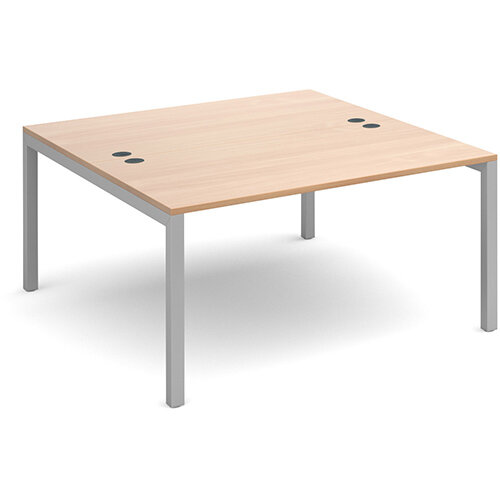 Connex back to back desks 1400mm x 1600mm - silver frame, beech top