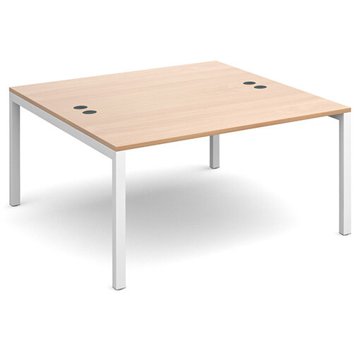 Connex back to back desks 1400mm x 1600mm - white frame, beech top