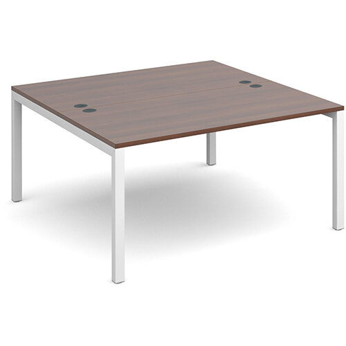 Connex back to back desks 1400mm x 1600mm - white frame, walnut top