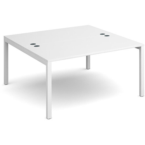 Connex back to back desks 1400mm x 1600mm - white frame, white top