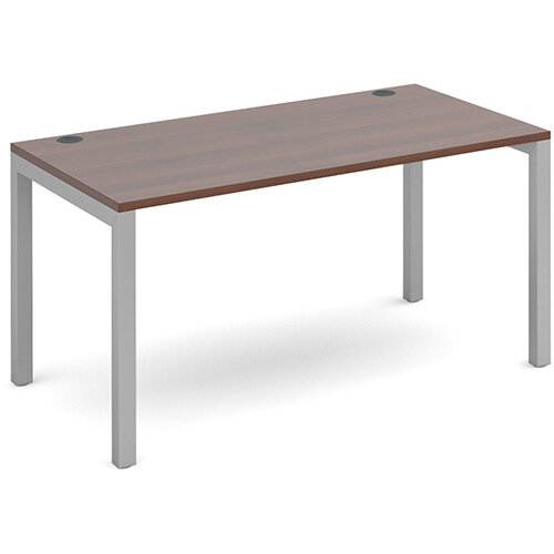 Connex single desk 1400mm x 800mm - silver frame, walnut top