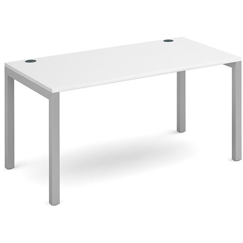 Connex single desk 1400mm x 800mm - silver frame, white top