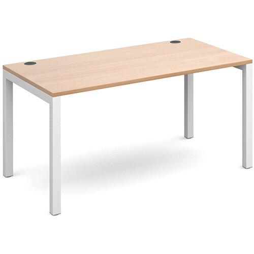 Connex single desk 1400mm x 800mm - white frame, beech top